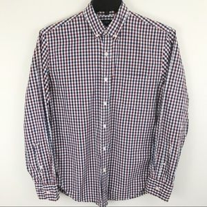 J Crew Long Sleeve Button Down White Checked Shirt